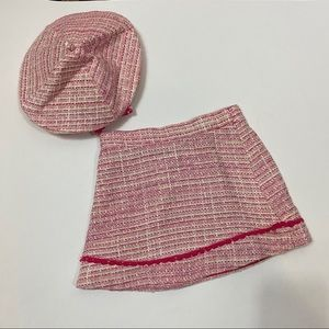 Janie and Jack pink tweed beret and skirt bundle